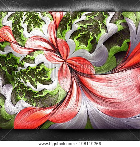 3D rendering of plastic background with embossed flower bubbles fractal on leather