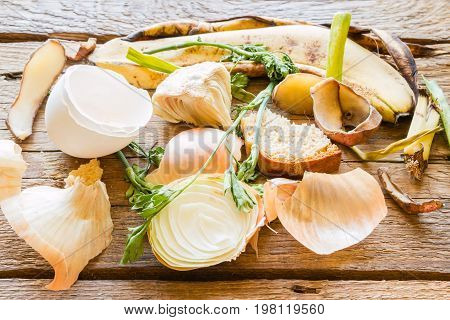 Food Waste Close-up On A Wooden Background