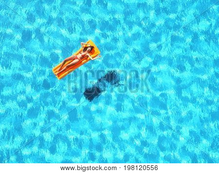 Woman relaxing on water mattress in the pool. This is a 3d render illustration