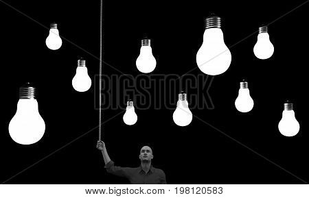 Man with a lightbulbs above his head. This is a 3d render illustration.