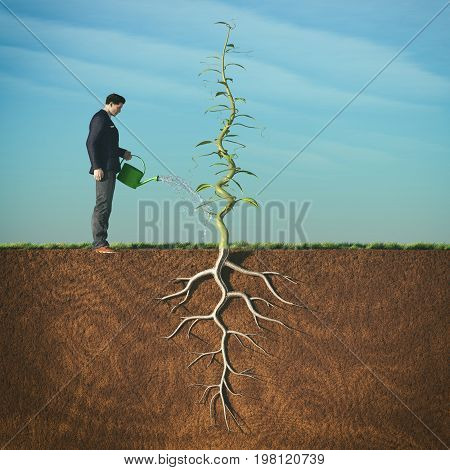Man watering with sprinkler a beanstalk.This is a 3d render illustration.