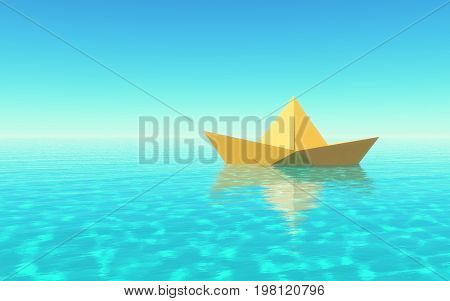 Paper boat sailing on blue water surface. This is a 3d render illustration.