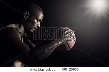 Young black sportsman with a basketball. This is a 3d render illustration