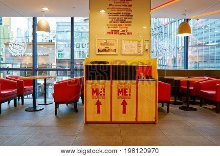 SEOUL, SOUTH KOREA - CIRCA MAY, 2017: Burger King in Seoul. Burger King is an American global chain of hamburger fast food restaurants.