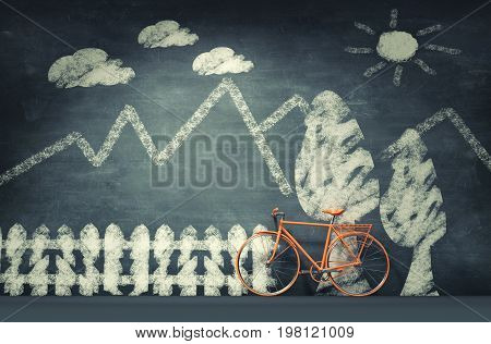 Bicycle leaning against a blackboard chalk. This is a 3d render illustration.