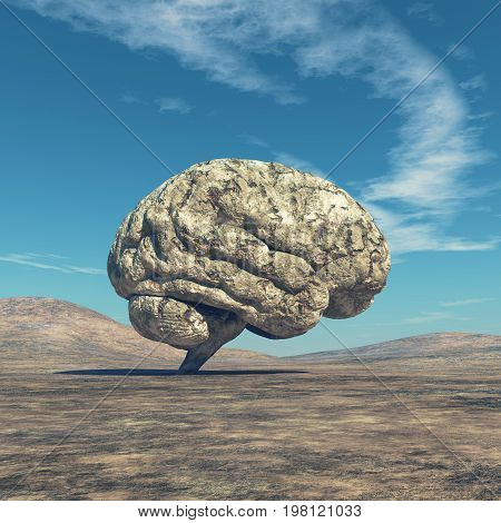 Conceptual image of a large stone in the shape of the human brain. This is a 3d render illustration.