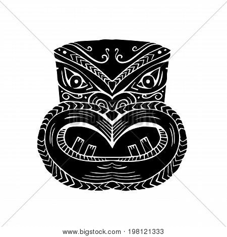 Illustration of a New Zealand Maori Koruru Tiki mask done in Woodcut style.