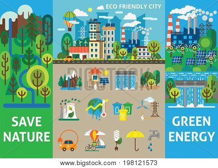 Vector illustration for brochures and websites. Big ecology set for info graphics. Landscape with ecology concept. Eco friendly city with buildings, transport and nature ecology elements in flat style