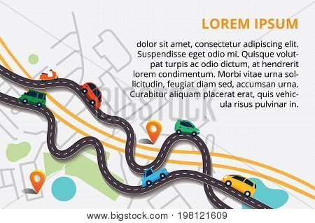 Vector illustration can used for web banner and info graphic. Top view city map with winding roads. Street Map with navigation icons. Navigation concept.