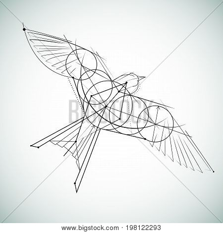 Hand drawn realistic sketch of a bird, isolated on white background. Vector monochrome sketch. Sketch for tattoos