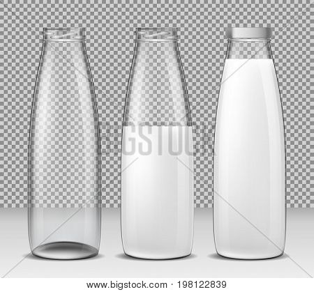 Set of vector isolated illustrations, icons, glass bottles for milk and dairy products empty, half full and full bottle sealed with a cap. Print, template, design element