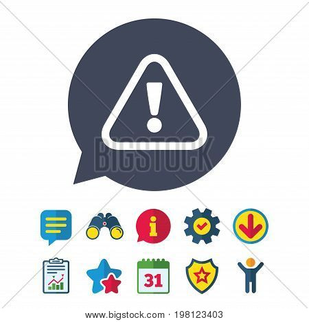 Attention sign icon. Exclamation mark. Hazard warning symbol. Information, Report and Speech bubble signs. Binoculars, Service and Download, Stars icons. Vector