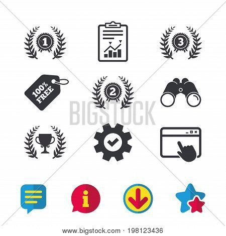 Laurel wreath award icons. Prize cup for winner signs. First, second and third place medals symbols. Browser window, Report and Service signs. Binoculars, Information and Download icons. Vector