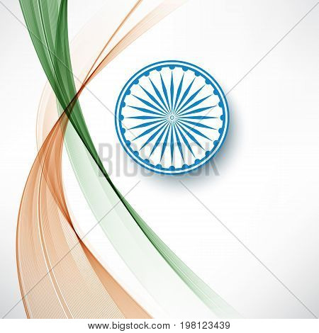 Indian flag color creative wave background with Asoka wheel
