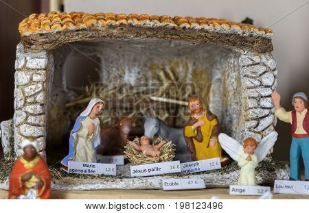 Nativity scene for sale at an monastery store in France