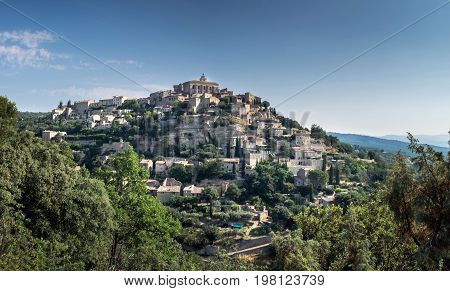 Panoramic View Of Gordes, Medieval Town In Provence Region. France