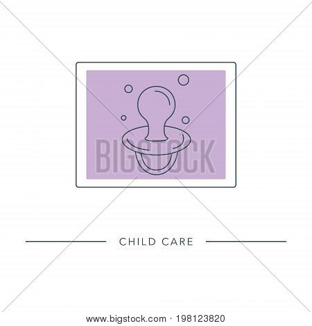 Baby pacifier - vector outline icon. Abstract symbol of maternity, child care, motherhood, childbearing.