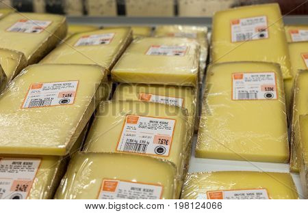 Packed Pieces Of Cheese At An Hypermarket In France