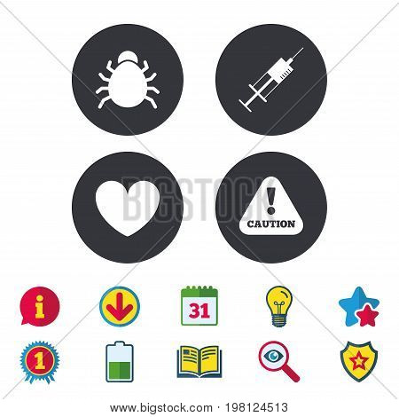 Bug and vaccine syringe injection icons. Heart and caution with exclamation sign symbols. Calendar, Information and Download signs. Stars, Award and Book icons. Light bulb, Shield and Search. Vector
