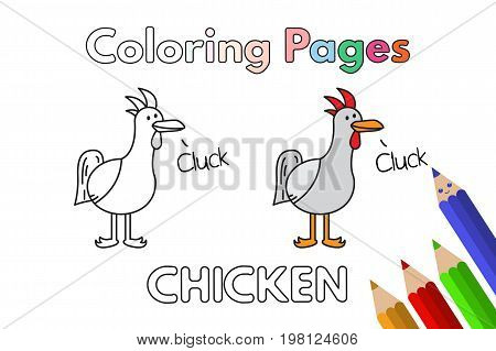 Cartoon chicken illustration. Vector coloring book pages for children