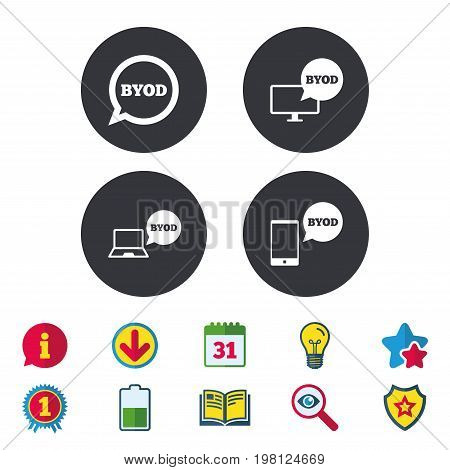 BYOD icons. Notebook and smartphone signs. Speech bubble symbol. Calendar, Information and Download signs. Stars, Award and Book icons. Light bulb, Shield and Search. Vector