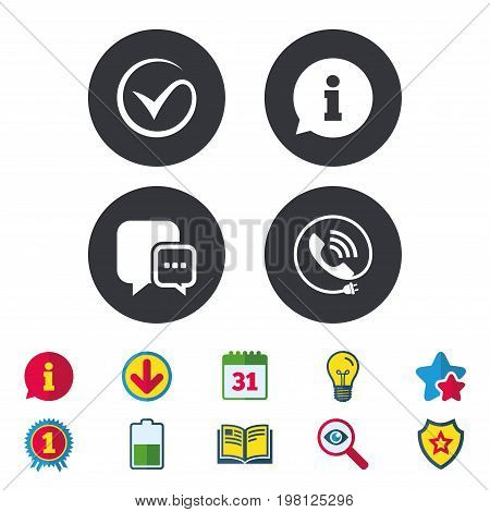 Check or Tick icon. Phone call and Information signs. Support communication chat bubble symbol. Calendar, Information and Download signs. Stars, Award and Book icons. Light bulb, Shield and Search