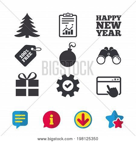 Happy new year icon. Christmas tree and gift box sign symbols. Browser window, Report and Service signs. Binoculars, Information and Download icons. Stars and Chat. Vector