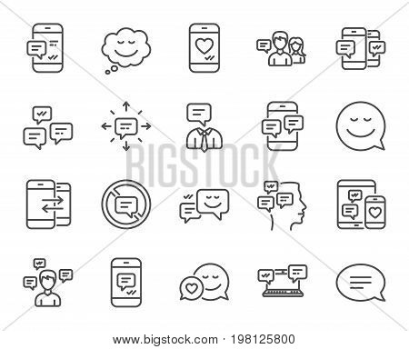 Message and Communication icons. Group chat, Conversation and Speech bubbles signs. SMS, Phone alert and Stop talking symbols. Quality design elements. Editable stroke. Vector