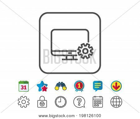 Computer or Monitor icon. Service Cogwheel sign. Personal computer symbol. Calendar, Globe and Chat line signs. Binoculars, Award and Download icons. Editable stroke. Vector