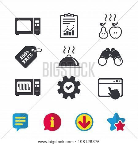 Microwave grill oven icons. Cooking apple and pear signs. Food platter serving symbol. Browser window, Report and Service signs. Binoculars, Information and Download icons. Stars and Chat. Vector
