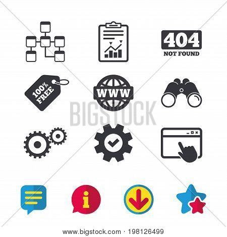 Website database icon. Internet globe and gear signs. 404 page not found symbol. Under construction. Browser window, Report and Service signs. Binoculars, Information and Download icons. Vector