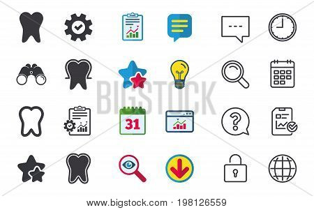 Tooth enamel protection icons. Dental care signs. Healthy teeth symbols. Chat, Report and Calendar signs. Stars, Statistics and Download icons. Question, Clock and Globe. Vector