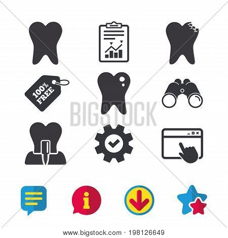 Dental care icons. Caries tooth sign. Tooth endosseous implant symbol. Browser window, Report and Service signs. Binoculars, Information and Download icons. Stars and Chat. Vector
