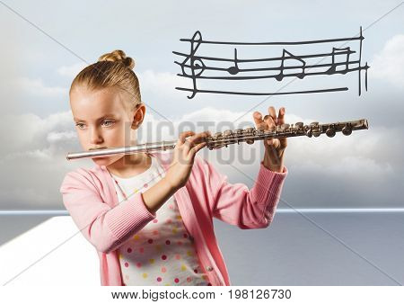 Digital composite of Girl playing the flute in front of clouds with music notes graphics