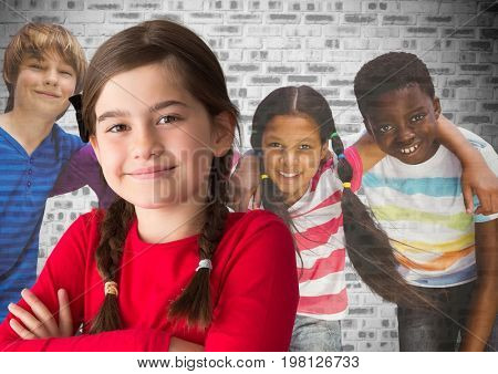 Digital composite of Group of kids in front of brick wall