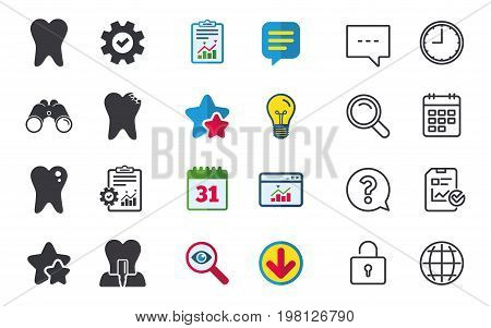 Dental care icons. Caries tooth sign. Tooth endosseous implant symbol. Chat, Report and Calendar signs. Stars, Statistics and Download icons. Question, Clock and Globe. Vector