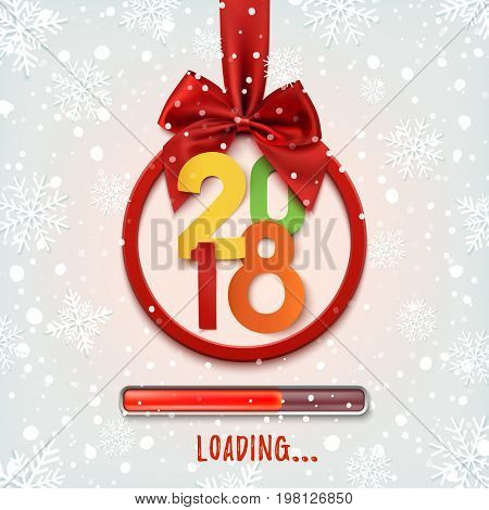 Happy New Year 2018 loading. Round banner with red ribbon and bow, on winter background with snow and snowflakes. Colorful, Christmas tree decoration. Greeting card template. Vector illlustaration.