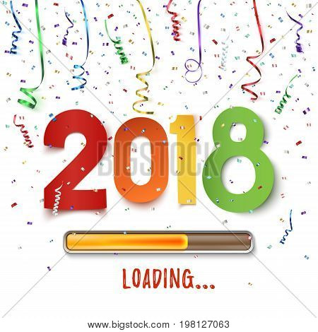 Happy New Year 2018 loading. Colorful abstract design. Background with ribbons and confetti on white. Greeting card template, brochure or poster. Vector illustration.