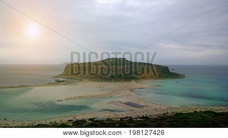 Popular natural attraction of the island of Crete: Balos Bay in cloudy weather