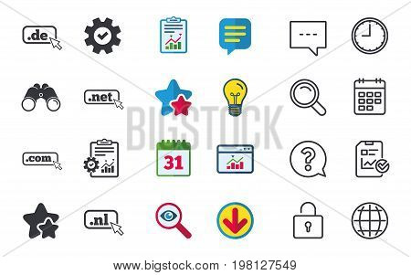 Top-level internet domain icons. De, Com, Net and Nl symbols with cursor pointer. Unique national DNS names. Chat, Report and Calendar signs. Stars, Statistics and Download icons. Vector