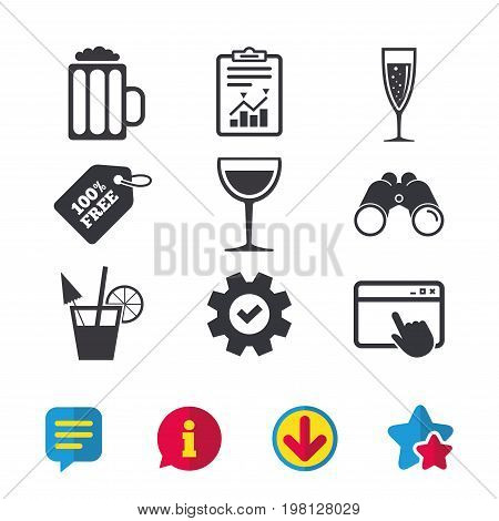 Alcoholic drinks icons. Champagne sparkling wine with bubbles and beer symbols. Wine glass and cocktail signs. Browser window, Report and Service signs. Binoculars, Information and Download icons