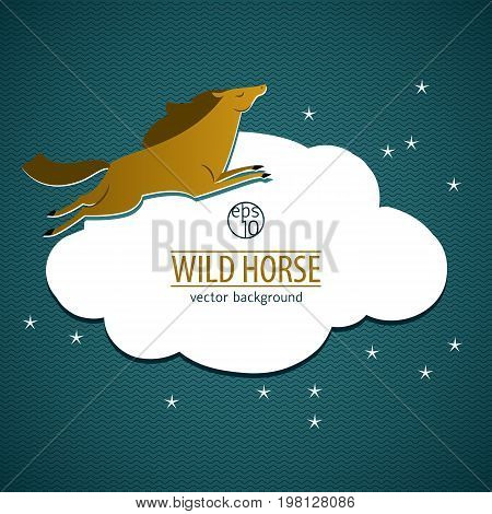 Wild horse emblem with brown horse lying on white cloud on blue background vector illustration
