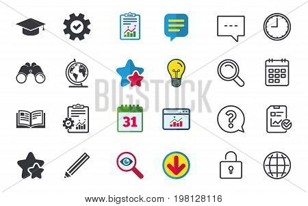 Pencil and open book icons. Graduation cap and geography globe symbols. Education learn signs. Chat, Report and Calendar signs. Stars, Statistics and Download icons. Question, Clock and Globe. Vector