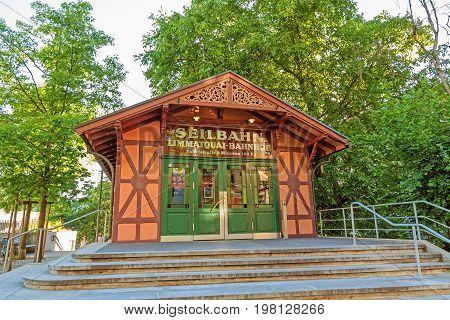 Zurich Switzerland - June 10, 2017: Zurich ropeway summit station