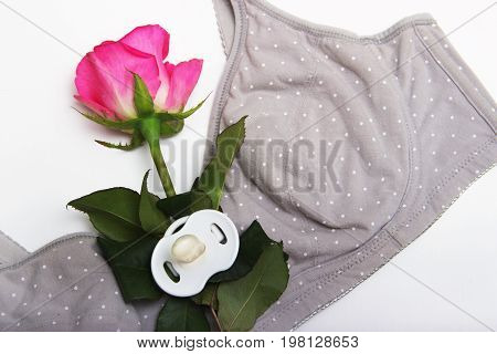 Nursing Bra For Mothers And An Anatomically Shaped Flat Pacifier For A Newborn. A Rosebud Of Pink Co