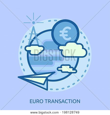 Euro Transaction Conceptual Design   Great flat illustration concept icon and use for currencies, payment, business and much more.