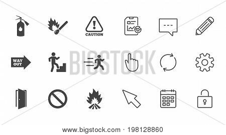 Fire safety, emergency icons. Fire extinguisher, exit and attention signs. Caution, water drop and way out symbols. Chat, Report and Calendar line signs. Service, Pencil and Locker icons. Vector