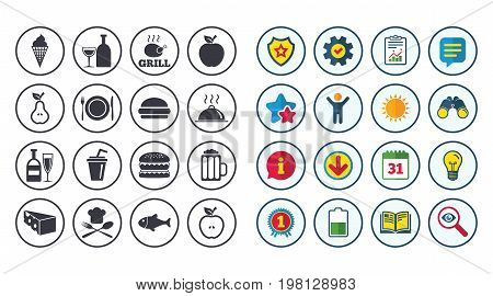 Set of Food and Drinks icons. Restaurant meal, Wine and Cheese signs. Burger, Milkshake and Beer symbols. Calendar, Report and Book signs. Stars, Service and Download icons. Vector