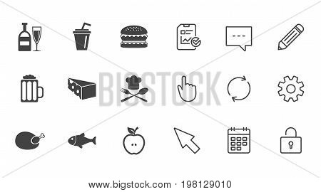 Food, drink icons. Beer, fish and burger signs. Chicken, cheese and apple symbols. Chat, Report and Calendar line signs. Service, Pencil and Locker icons. Click, Rotation and Cursor. Vector