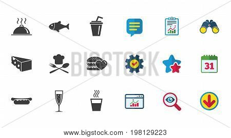 Food, drink icons. Alcohol, fish and burger signs. Hot dog, cheese and restaurant symbols. Calendar, Report and Download signs. Stars, Service and Search icons. Statistics, Binoculars and Chat. Vector